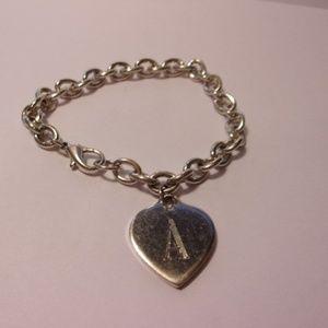 Jewelry - Silver Tone Chunky Heart Initial A Charm Bracelet